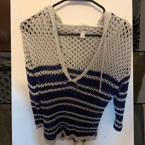 American Eagle Hooded Blue & Grey Netted Sweater